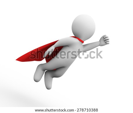 3d illustration of brave super hero with red cloak. 3d rendering of white man person people character - stock photo