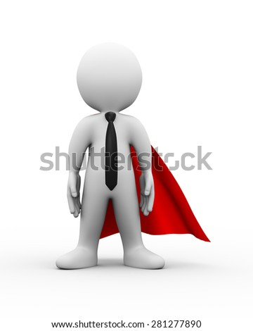 3d illustration of brave super hero with red cloak presentation of successful businessman concept.  3d rendering of white man person people character
