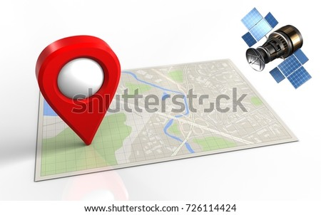3d illustration of bright map with location pin and gps satellite