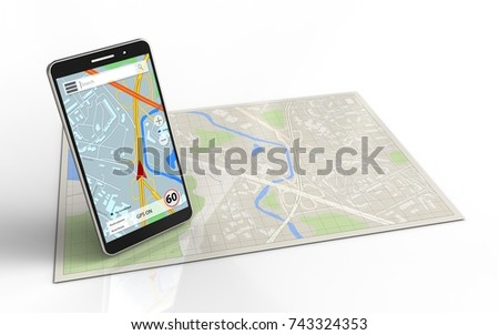 3d illustration of bright map with mobile phone navigation and