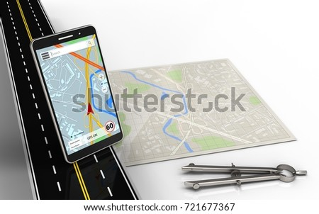 3d illustration of bright map with mobile phone navigation and circle tool