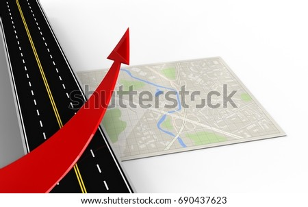 3d illustration of bright map with red arrow and