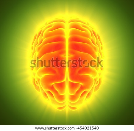 3D illustration of bright orange brain, anatomy and medical concept.