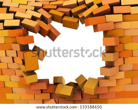 3d illustration of broken hole in brick wall - stock photo