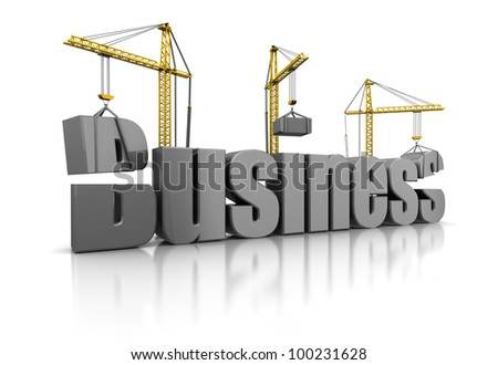 3d illustration of building business concept - stock photo