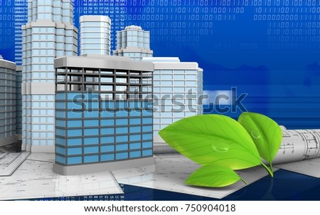 3d illustration of building construction with urban scene over digital background