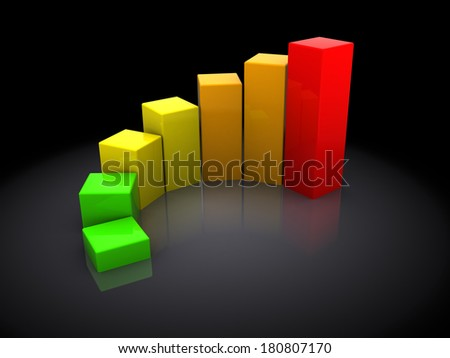 3d illustration of business charts colorful, over dark background
