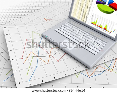 3d illustration of business graphs and laptop - stock photo