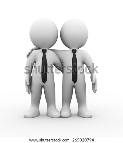 3d illustration of business partners standing together.  3d rendering of human people character - stock photo