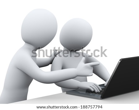 3d illustration of business people working together with laptop. 3d rendering of human people character. - stock photo