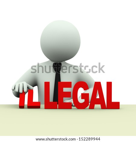 3d illustration of business person changing word illegal to legal. 3d rendering of human people character. - stock photo