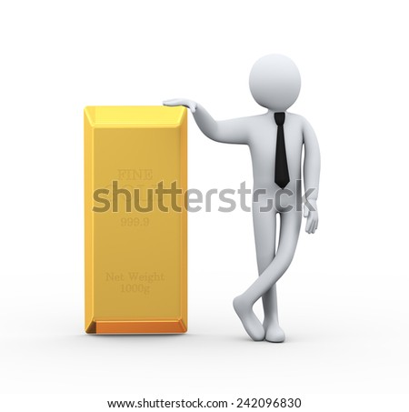 3d illustration of business person with find gold  bar.  3d rendering of human people character - stock photo