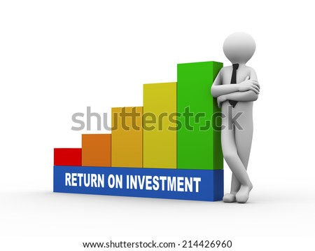3d illustration of business person with return on investment progress growth rising bars. 3d human person character and white people - stock photo