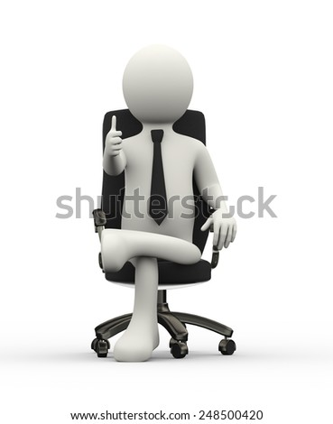 3d illustration of business person with thumb up seated on business chair. 3d human person character and white people