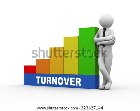 3d illustration of business person with turnover progress growth rising bars. 3d human person character and white people - stock photo