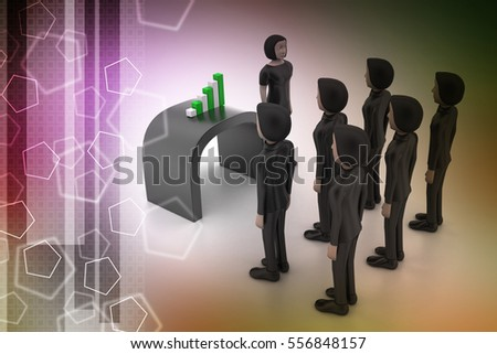 3D illustration of Business team looking at financial graph