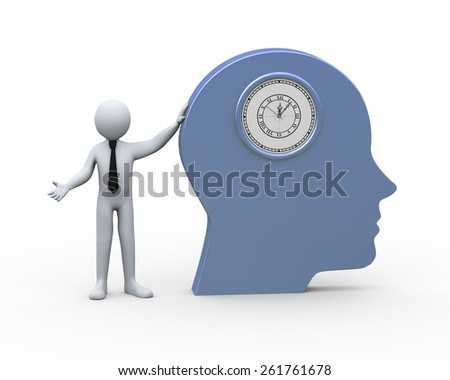 3d Illustration of businessman and human head with integrated clock.  3d rendering of human people character. - stock photo