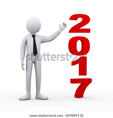 3d illustration of businessman presenting new year 2017. 3d rendering of human people character - stock photo