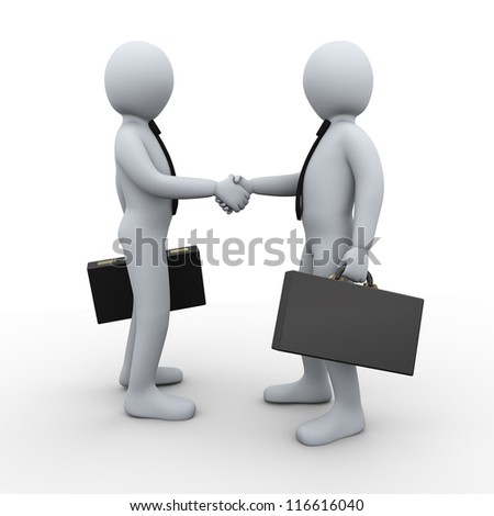 3d Illustration of businessman shaking hands with his business partner. 3d rendering of human businessman character - stock photo