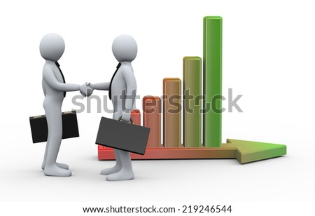 3d Illustration of businessman shaking hands with his business partner on background of growing progress bar on arrow. 3d rendering of human businessman character - stock photo