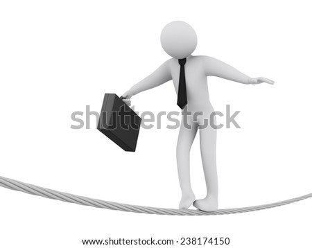 3d illustration of businessman walking on rope.  3d rendering of people - businessman human character. - stock photo