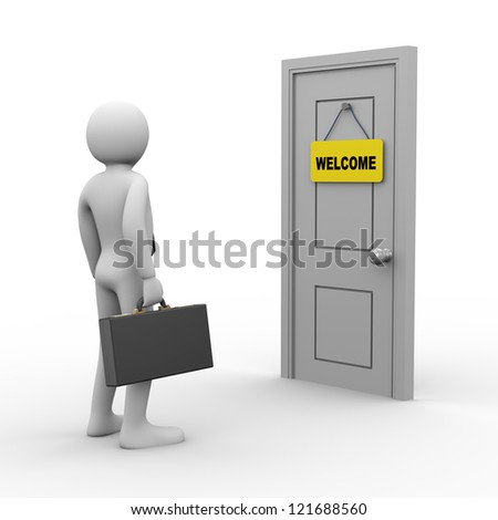 3d Illustration of businessman with briefcase in front of door with welcome tag. 3d rendering of people - human character.
