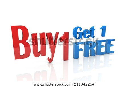 3d illustration of buy one and get one free