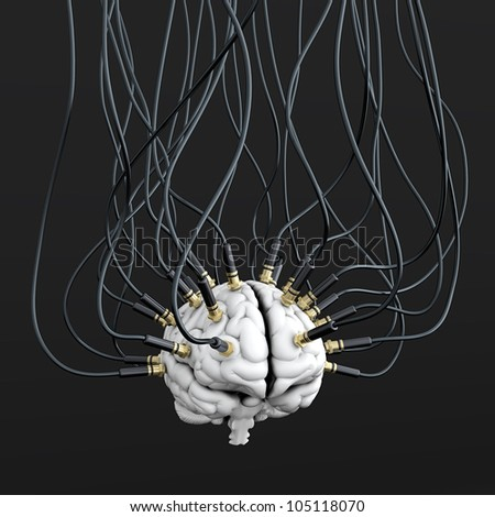 3D illustration of cables connected to brain. Mind control concept - stock photo
