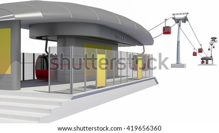 3D Illustration of Cableway Station - stock photo