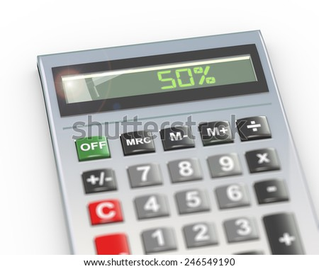 3d illustration of calculator with digital text word 50 percent on lcd display - stock photo