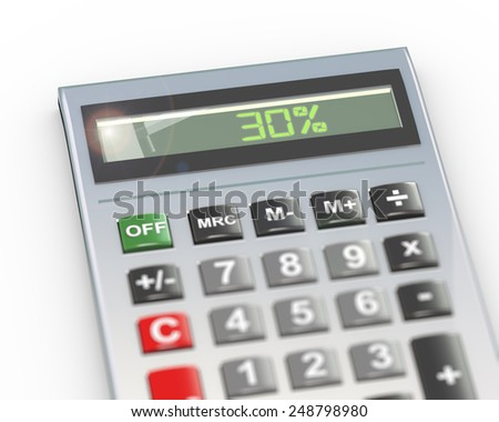 3d illustration of calculator with digital text word 30 percent on lcd display - stock photo