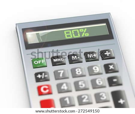 3d illustration of calculator with digital text word 80 percent on lcd display - stock photo
