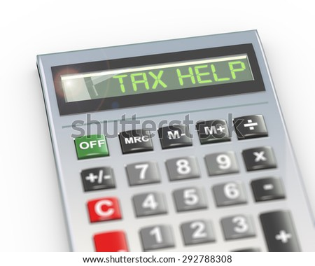 3d illustration of calculator with digital text word tax help on lcd display - stock photo