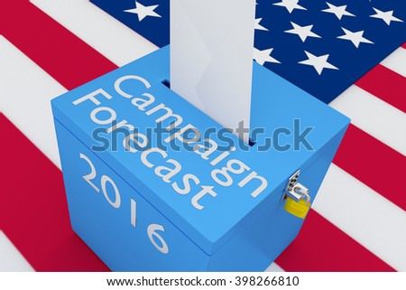 3D illustration of Campaign Forecast, 2016 scripts on ballot box, with US flag as a background. Election Concept. - stock photo