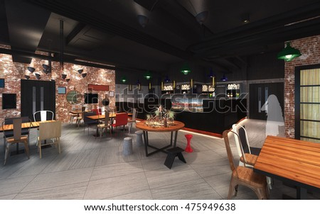 3d illustration of canteen design