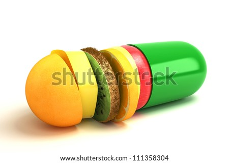 3d illustration of capsule with fruit slice against white - stock photo