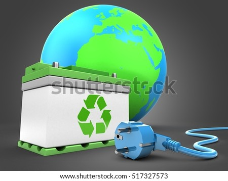 3d illustration of car battery over gray background with earth globe and power cable