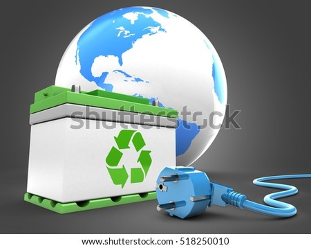 3d illustration of car battery over gray background with world globe and power cable