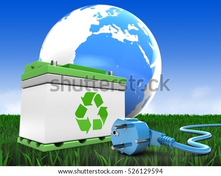 3d illustration of car battery over meadow background with earth and power cable