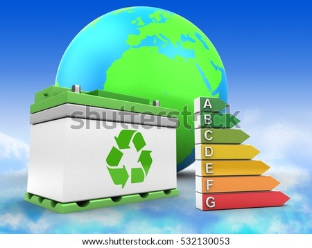 3d illustration of car battery over sky background with earth globe and efficient ranks