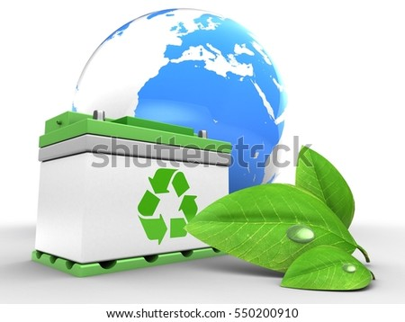 3d illustration of car battery over white background with earth and green leaf