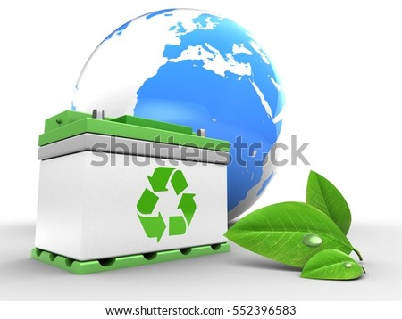 3d illustration of car battery over white background with earth and leaf