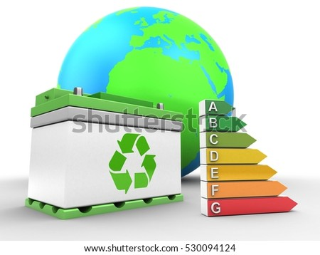 3d illustration of car battery over white background with earth globe and efficient ranks