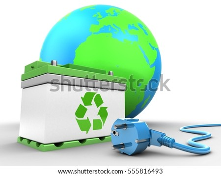 3d illustration of car battery over white background with earth globe and power cable