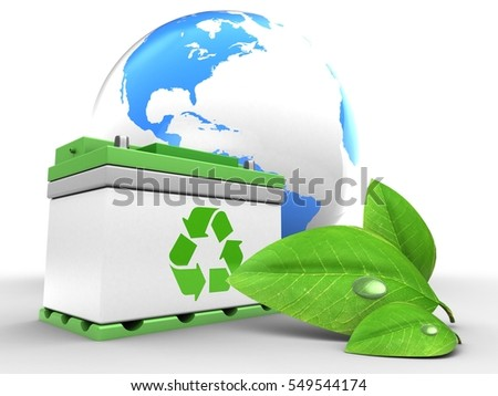 3d illustration of car battery over white background with world globe and green leaf