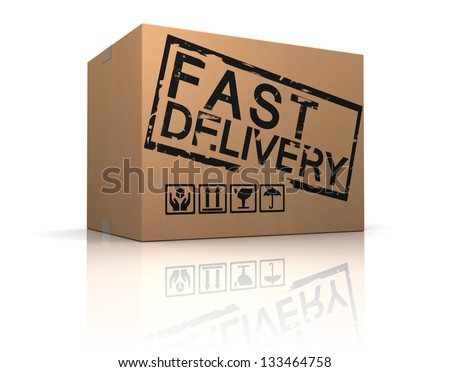 3d illustration of cardboard box with fast delivery sign