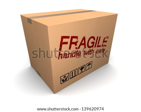 3d illustration of cardboard box with fragile sign - stock photo