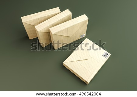 3d illustration of cardboard envelopes isolated