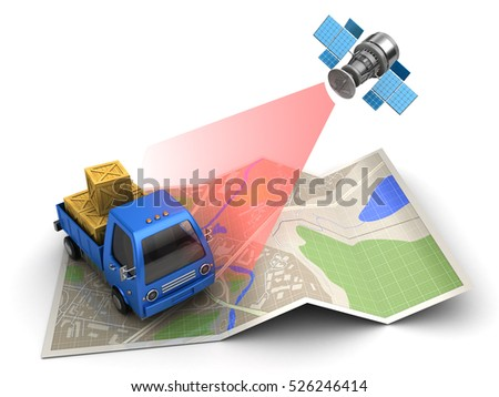 3d illustration of cargo delivery tracking with satellite