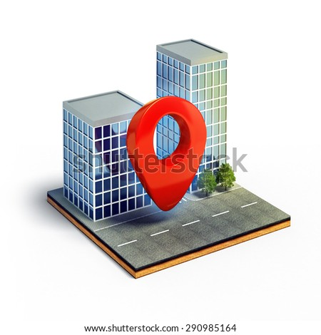 3d illustration of cartography pin on cross section of isometric city isolated on white background - stock photo